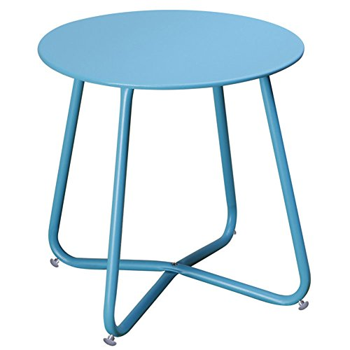 Grand Patio Steel Coffee Bistro Table All Weather Outdoor Garden Backyard Ottoman Table, Blue