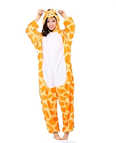 ABING Halloween Pajamas Homewear OnePiece Onesie Cosplay Costumes Kigurumi Animal Outfit Loungewear,Giraffe Adult XL -for Height 175-183CM