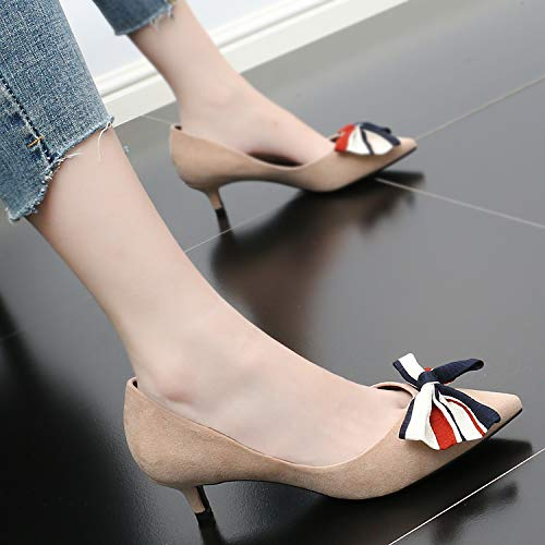 Bow Coloring Knot Fresh Autumn Small Middle Heel Shoes Shallow Low Women'S Beige Heeled Sharp Shoes SFSYDDY 0ApXYnp