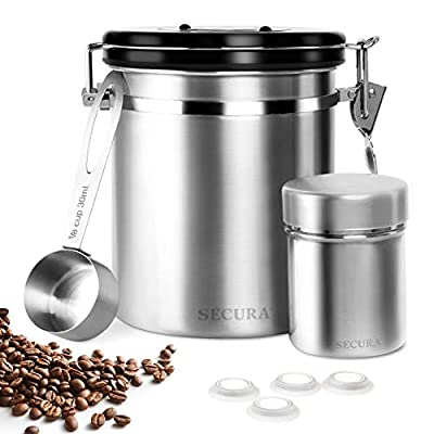 Secura Coffee Canister, Airtight Stainless Steel Storage Containers for Coffee Tea Food with Scoop, Powder Shaker, 4 Extra Valves and 16 Stencils