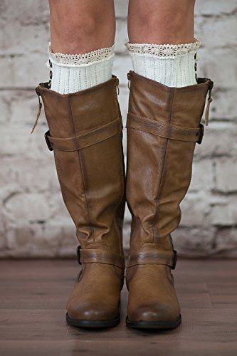 Boot Cuffs Vintage 3 Button Style Women's Boutique Socks Brand by Modern Boho Ivory by Boutique Socks (Image #1)