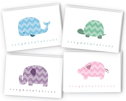 Chevron Animals Baby Congratulations Cards - 24 Cards & Envelopes