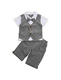 Kanodan Baby Toddler Boys Striped Gentleman Suits Summer Shorts Outfits