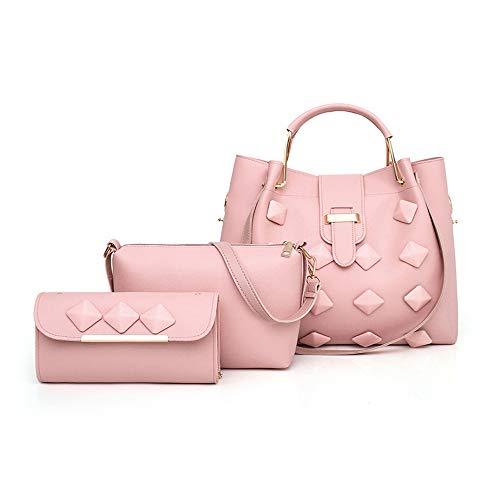 Mano Borse LUCKYCCDD Borsa Stile Femminile Semplicistico Portafoglio Brown A Di Messenger Borsa Moda Borse Set Pink 3 AwwqPpB5