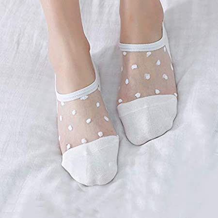 Amazon.com: Gold Happy Transparent Lace Women Socks Cute Dot Girls Invisible Low Cut Short Ankle Sock Woman Funny Socks Non-Slip Glass Fiber Sock: Kitchen & ...