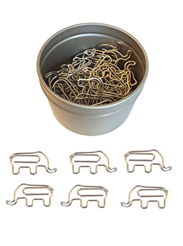 Butler in the Home Animal Elephant Shaped Paper Clips 50 Count in Silver Tin and Silver Gift Box Great For Paper Clip Collectors or Zoo Animal Lovers (Silver Metal)