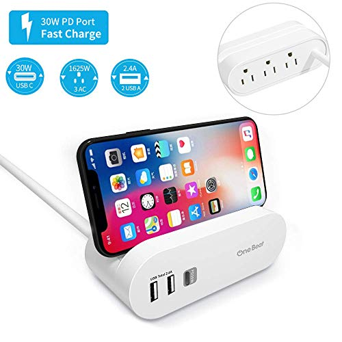 USB C Power Strip with Power Delivery Charger, 3 Outlets 3 USB Ports 1 30W PD, 2 USB-A 2.4A Charging Station with Phone Holder Flat Plug 5ft Long Extension Cord for Home Office Travel