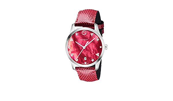 cbdb3a61811 Amazon.com  Gucci G-Timeless Mother of Pearl Dial Leather Strap Ladies  Watch YA1264041  Watches