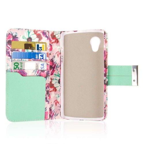 Nexus 5 Wallet Case, EMPIRE KLIX Klutch Designer Wallet [4 Slots] Inner Hard Polycarbonate Felt Lining Case for Nexus 5 with Magnetic Flap & Hand Strap [Perfect Fit & Precise Port] - Vintage Pink Flower