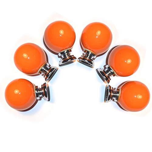FatColo(TM) Kitchen Handles Pull Drawer Knobs Ceramic Door Cabinets Cupboard Hardware w/Screws (Ball Shape, Orange)
