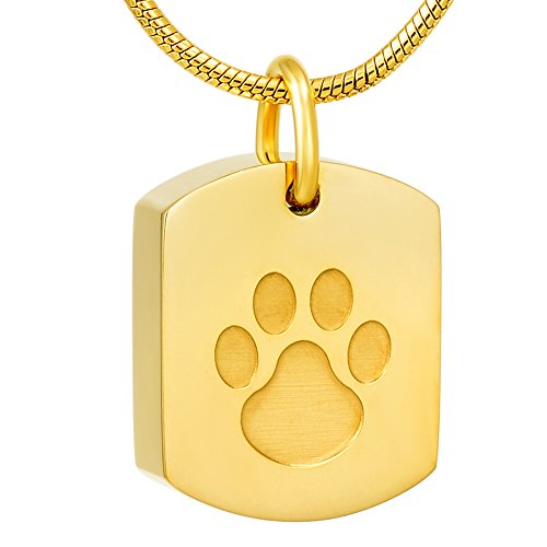 Pet Paw Engraved Dog Tag Stainless Steel Cremation Ashes Necklace Memorial Ashes Keepsake Jewelry