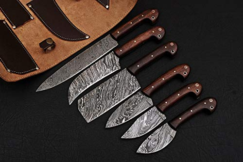 - Alkaswa Forged Kitchen/BBQ Knives Set (13.5'', 10.5'', 11'', 9.5'', 9'', 9'',) 100% Handmade Damascus Steel Blade with Leather Roll Kit (3025) 100% Prime Quality Knives