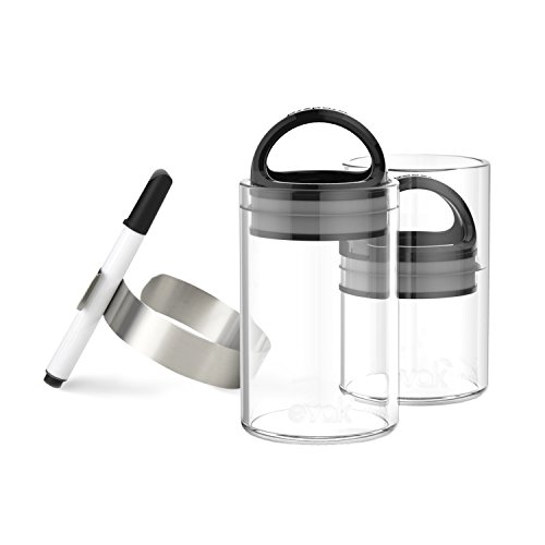 SET OF 2 EVAK MINI with ID CLIPS- Best PREMIUM Airtight Storage Container for Coffee Beans, Tea and Dry Goods - Innovation that Works by Prepara, Glass and Stainless,Compact Handle (Black Gloss)