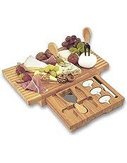 Dimono® Deska do krojenia sera XXL z 3 nożami do sera; 8-częściowy zestaw desek do krojenia sera z drewna bambusowego ze sztućcami do sera, do serwowania, zabawy i przeżycia