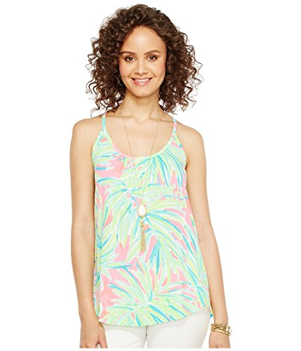 Lilly Pulitzer Women's Lacy Tank, Tiki Pink Royal Lime, S