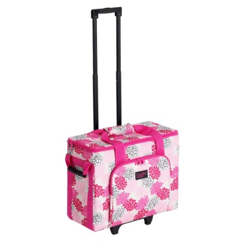 Creative Notions Sewing Machine Trolley in Pink Gray Print by Creative notions