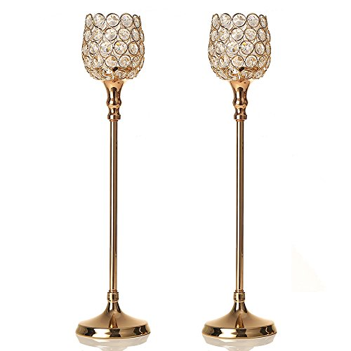 VINCIGANT Gold Crystal Candle Holder Set of 2 for Wedding Holiday Modern Home Decor/Gift for Anniversary Celebration,18.5 Inches (Candle Holder Holiday Decor)