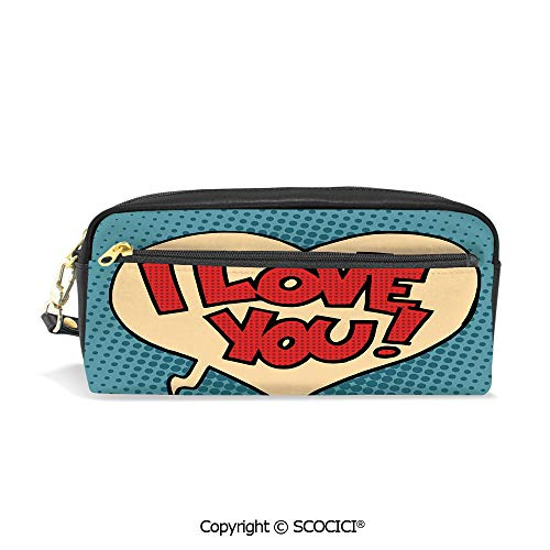 Girls Boys 3D Printed PU Pencil Case Holders Bag with Zipper Pop Art Style Retro Comic Strip Love Bubble Artistic Cartoon Graphic Decorative Stationery Makeup Cosmetic Bags Back to -