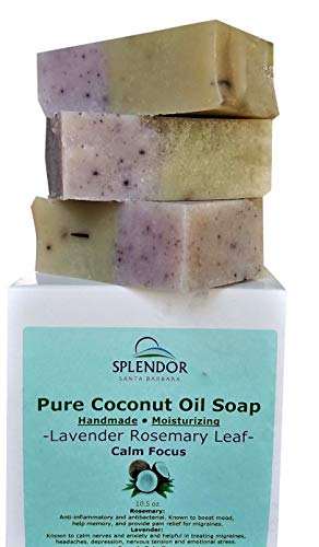 Lavender Rosemary Leaf (10.5 oz) - Pure Coconut Oil Soap for Calm Focus. Handmade, Moisturizing, Natural, Vegan With Essential Oils, Organic Spirulina, Alkanet Root and Garden Rosemary -
