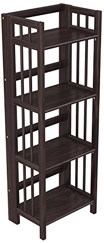 Stony-Edge No Assembly Folding Bookcase, 4 Shelves, Media Cabinet Storage Unit, for Home & Office, Quality Furniture. Espresso Color. 16'' Wide. by Stony-Edge
