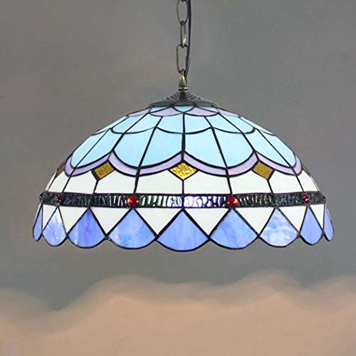 DSHBB Tiffany Style Chandelier,Mediterranean Creative Blue Stained Glass Pendant Lights Sun Flower,Living Room Decoration Pendant ()