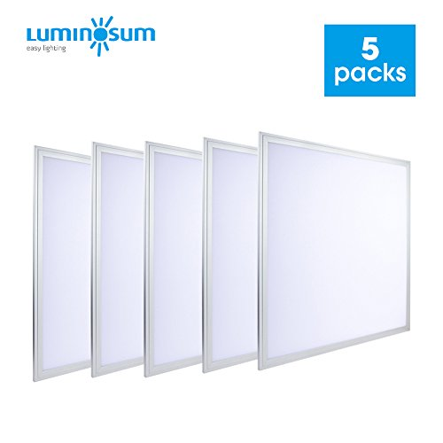 LUMINOSUM, LED Troffer 2x2 Ft Edge-Lit Panel, 36W (80W Equivalent), 24 x 24'', Cool White 6000k, 3240lm, White Frame, Office Lighting, 5-pack by LUMINOSUM