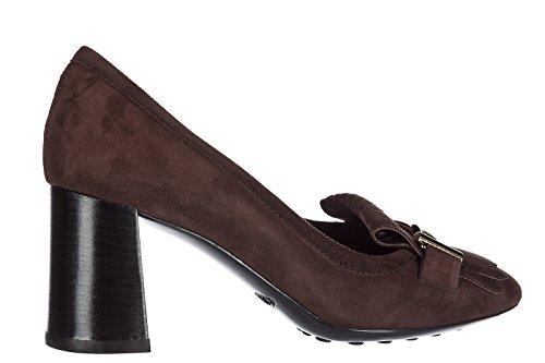 Tods Zapatos de Salón Escotes Mujer EN Ante Nuevo t70 Marrón