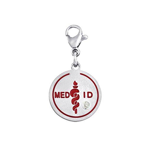Stainless Steel Med ID Dangle Disc Charm w/Swarovski Birthstone - - Medical Id Bracelets American