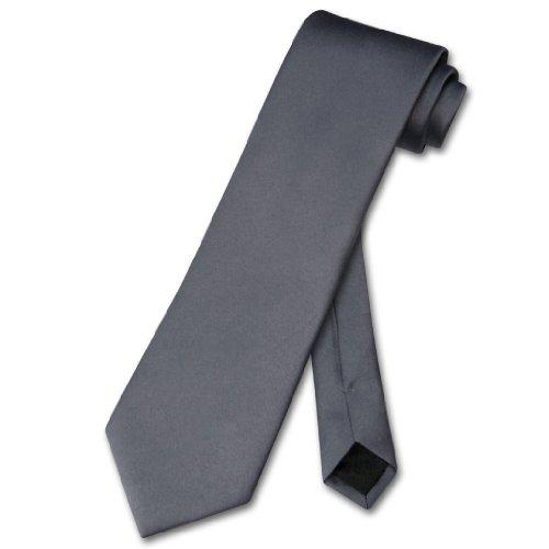 Vesuvio Napoli NeckTie Solid CHARCOAL GREY Color Men's Dark Gray Neck Tie - Charcoal Grey Necktie
