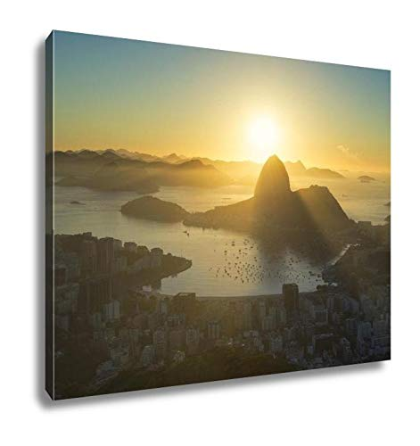 Ashley Canvas Scenic Sunrise Rio De Janeiro Brazil Sugarloaf Mountain Wall Art Decoration Picture Painting Photo Photograph Poster Artworks, 20x25