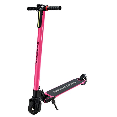 - Swagtron Swagger High Speed Adult Electric Scooter; Ultra-Lightweight Carbon Fiber; Easy Fold-n-Carry Design (Pink)