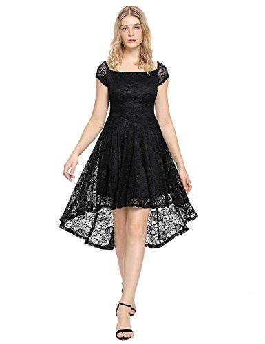 90 S Dress (LookbookStore Women's Black Cocktail Off Shoulder High Low Lace Skater Dress US 16)