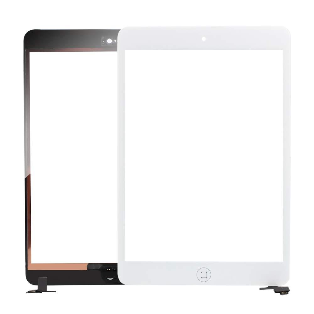 Assemblea Completa con Chip IC Pulsante Home Haihuic Schermo Frontale in Vetro Bianco Digitizer Pannello Touch per iPad Mini 1 Mini 2 Strumenti
