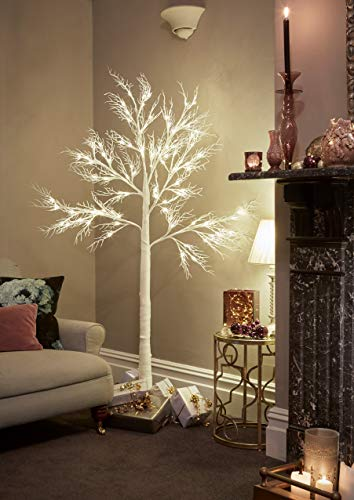 JayMark Products 7ft Christmas Deadwood White Twig Tree Pre Lit 120 LED with Warm White Lights - Indoor & Outdoor (Trees For Twig Sale)