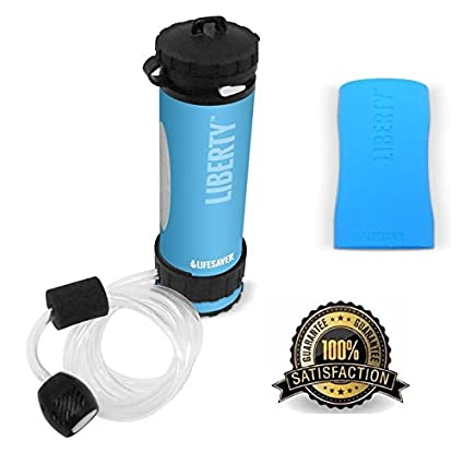 2738e3553f LifeSaver Liberty Water Filter Purification Bottle with Inline Pump &  Protective Silicone Sleeve - Eliminates 99.9999
