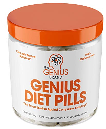Genius Diet Pills - The Smart Appetite Suppressant That Works Fast for Safe Weight Loss, Natural 5-HTP & Saffron Supplement Proven for Women & Men - Cortisol Manger + Thyroid Support, 50 Veggie Caps ()