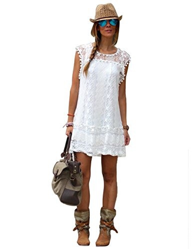 White Crochet Dress (eshion Women Sleeveless lace Crochet Ball Hollow Fringe A-Line Dress (XL, white))