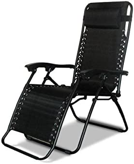 Denny International® Textoline - Silla reclinable de jardín, tumbona de playa reclinable, sillas en color negro resistentes al agua., negro