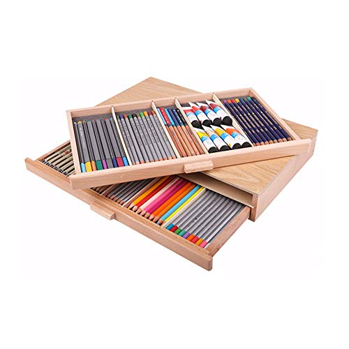 Creative Mark Pastel Storage Box, 2 Drawer Wood Storage Box, Sturdy & Stackable, Perfect for Pastels, Art Tools, Paint Brushes & Makeup Brushes, Pastels, Pencils, Pens, Brushes, Marker Storage Box