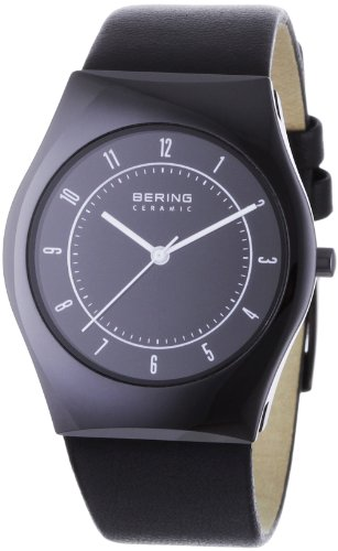 BERING Time 32035-442 Men's Ceramic Collection Watch with Leather Band and scratch resistant sapphire crystal. Designed in Denmark.