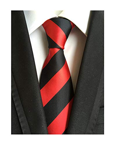 Secdtie Men's Red Black Striped Jacquard Woven Silk Tie Formal Necktie LUD34