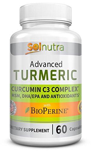 Advanced Turmeric Curcumin C3 with BioPerine, MSM, DHA/EPA, Antioxidants – Standardized 95% Pure, Concentrated Curcuminoids – Anti-Aging Vitamins, Natural Anti-Inflammatory