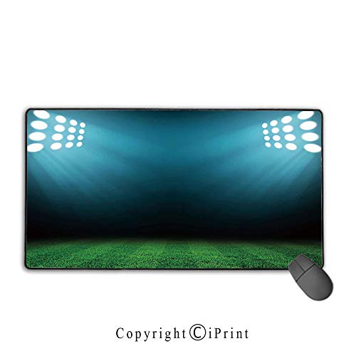 e pad with Stitched Edges,Digital,Night at Stadium with Spot Light Reflections on Grass Champion Show Image,Forest Green Teal, Suitable for Offices and Homes,15.8