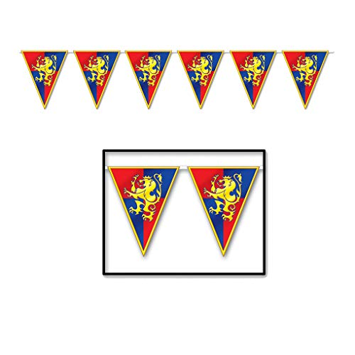 Plastic Medieval Pennant Banner 11 inches x 12 feet - Party Decoration ()