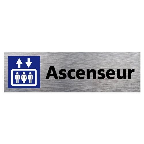 Plaque d'Information Ascenseur en Aluminium Brossé Inoxydable - Pictogramme Ascenseur Porte Rectangle Dimensions 170 x 50 mm - Double face autocollant adhésif au dos - Ascenseur Signalétique.biz France Q0117