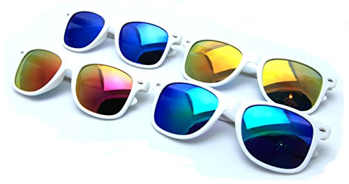 VW Eyewear - 4 Pairs White Classic Sunglasses Revo Color mirror lens Large Horn Rimmed