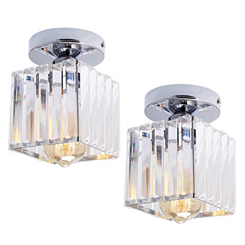 HMVPL Set of 2 Semi Flush Mount Pendant Lighting Fixtures,Modern Sparkly Crystal Close to Ceiling Light Chrome Mini Ceiling Lamp for Kitchen Island Dining Room Bedroom Foyer Hallway (Sparkly Light Fixture)