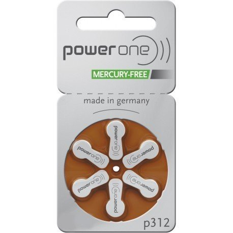 PowerOne Size 312 Hearing Aid Batteries No Mercury, 120 Batteries