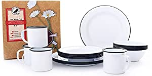 Enamelware 16 Piece Dinnerware Starter Set - Solid White with Black Trim