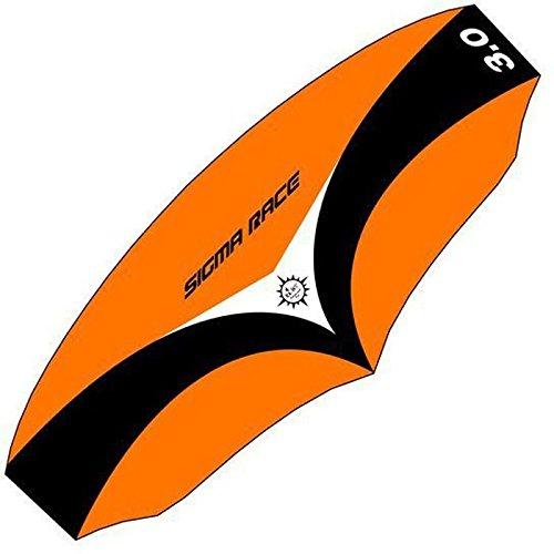 Elliot 1012710 Elliot Sigma Race 3.0 Dreileiner-Lenkdrachen (Lenkmatte), rtf, inkl. Controlbar, 315 x 126 cm, schwarz/weiß/Orange